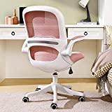 Home Office Desk Chair Ergonomic Computer Chair with Flip-Up Armrests Lumbar Support, Eggshell Chair, Small Cute Task Chair, Pink Modern Chair, Mid Back Mesh Chair, 330LBS Load-Bearing, Pink
