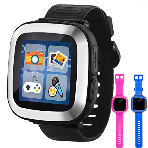 """GBD Game Smart Watch for Kids Girls Boys Student Toddlers Wrist Digital Watch with Pedometer 1.5"""" Touch 10 Games Alarm Clock Electronic Learning Game Toys for Kids Holiday Birthday Gifts (Black)"""