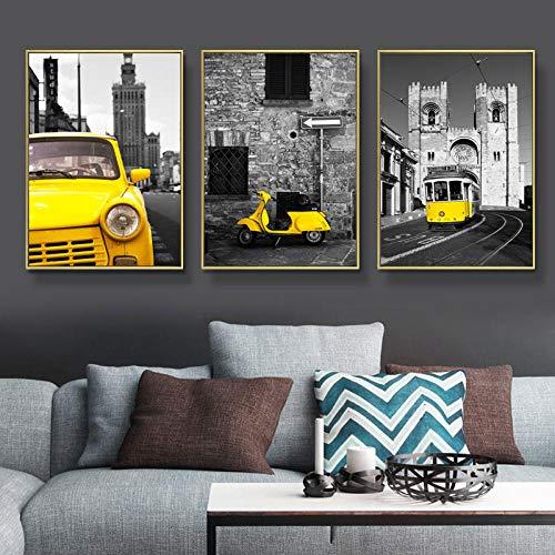 Arte moderno de la pared Pintura de la lona Paisaje de la ciudad y autobuses Carteles e impresiones de la lona del coche Imágenes de la pared para la decoración de la sala de estar / 573 sin marco