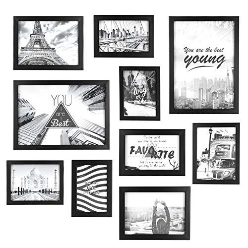 Bilderrahmen Fotorahmen 10er Set mit passpartout Collage aus Holz und glas Bildergalerie Fotogalerie schwarz Bilderwand 3 Stk. 10 x 15 cm, 2 Stk. 13 x 18 cm, 3 Stk. 15 x 20cm, 2 Stk. 21 x 30 cm