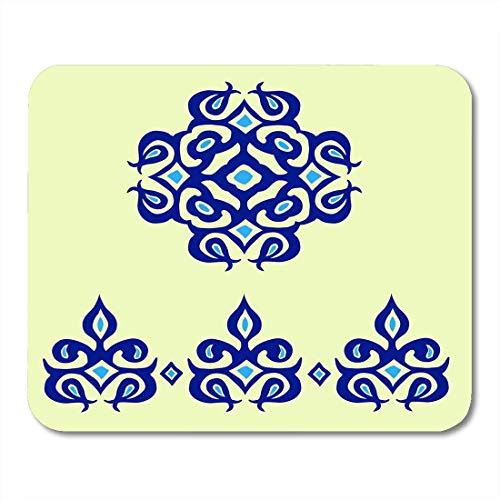 Mauspads Blaupause Blau Abstraktes orientalisches Kobalt zum Dekorieren von Geschirr Aufkleber für Glasporzellan Arabeske Mauspads für Notebooks, Desktop-Computer Büromaterial
