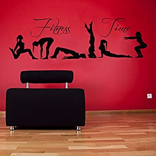 Wall Decals Vinyl Decal Sticker Sport People Wording Fitness Time Girls Yoga Pilates Art Home Interior Design Living Room Gym Decor