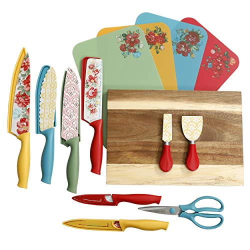 The Pioneer Woman 20 Pc Cutlery Knife Set Knives Cutting Boards (Vintage Floral)