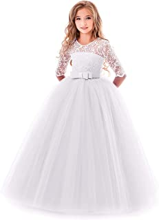 8374fea25b5 Flower Girl Lace Dress for Kids Wedding Bridesmaid Pageant Party Prom  Formal Ball Gown Princess Puffy