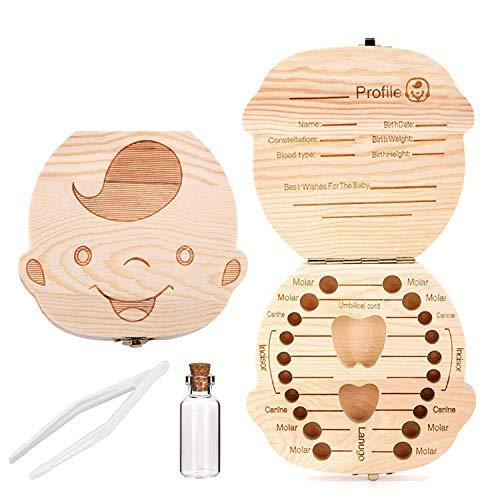 Comius Sharp Hölzerne Babyzahnbox, Aufbewahrungsbehälter für Kinderzähne, Zahnschonbox mit Pinzette und Lanugo-Flasche (Boy)