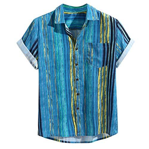 Yowablo Hawaiihemd | Herren | Kurzarm Bunte Streifen Sommer Kurzarm Lose Knöpfe Freizeithemd Bluse (XL,2Blau)