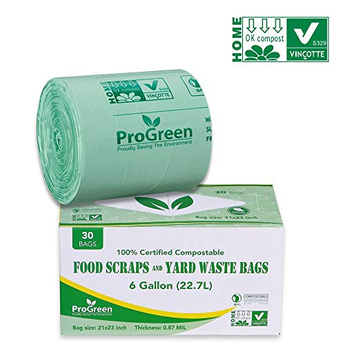ProGreen 100% Compostable Bags 6 Gallon, Extra Thick 0.87 Mil, 30 Count, Small Kitchen Compost Trash Bags, Food Scraps Yard Waste Bags, Compost ASTM D6400 BPI And TUV AUSTRIA Certified