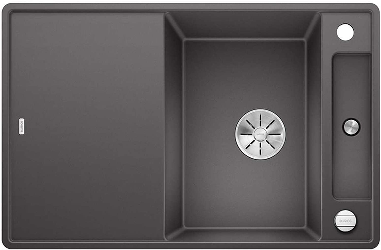 Weiß Axia III 45 S-F Felsgrau Dunkelgrau 523 194 Granitspüle Spülbecken Küche mit Holzschneidbrett Exzenterbettigung