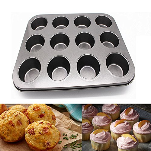 Vibola 12 Cup Carbon Steel Muffin Cupcake Baking Pan Non Stick Dishwasher Microwave Safe (Gray)