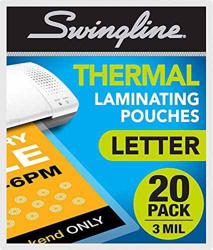 Swingline Laminating Sheets, Thermal Laminating Pouches Letter Size, 3mil, 20 Pack (3202021)