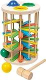 small foot 6569 Klopfkugelturm 'Groß' aus Holz, Klopfspiel mit drei Kugeln und einem Hammer, ab 18 Monate