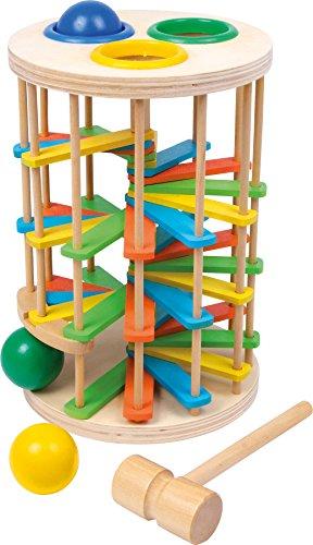 Small Foot 6569 Tour à cogner boules, grand en bois, jeu de balles avec trois balles et un marteau, à partir de 18 mois