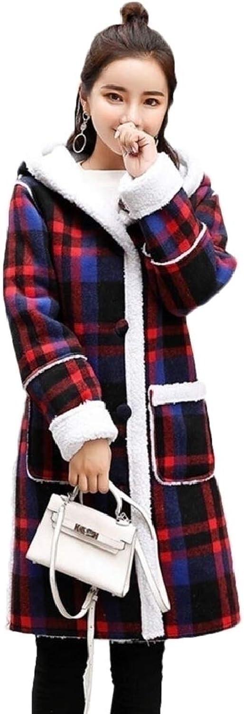Maweisong Women's Warm Plaid Open Front Hoodies Wool Jackets Outwear