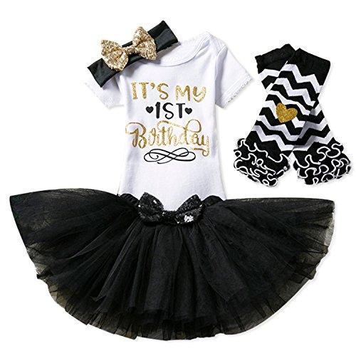 NNJXD Mädchen Neugeborene Es ist Mein 1. Geburtstag 4 Stück Outfits Strampler + Rock + Stirnband (+ Leggings) Größe (1) Schwarz(1 Jahre)