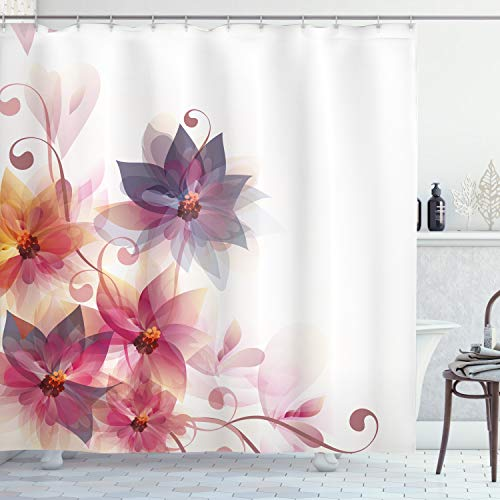 """Ambesonne Abstract Shower Curtain, Modern Floral Design with Burts and Leaves Detailed Romantic Image, Cloth Fabric Bathroom Decor Set with Hooks, 70"""" Long, Purple Orange"""