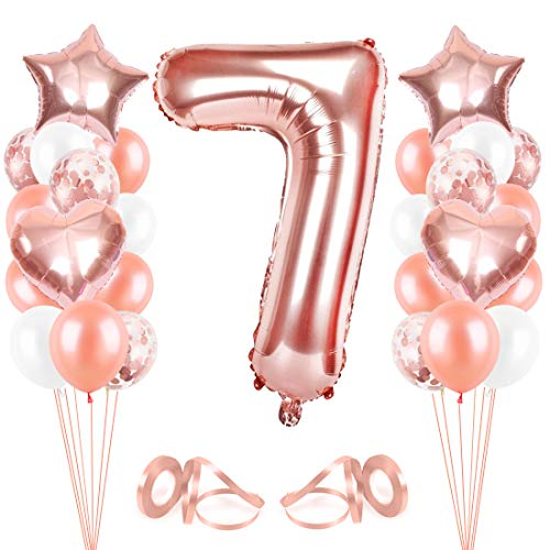 Bluelves Palloncini Compleanno 7 Anno, Oro Rosa Palloncini 7, Palloncino Numero 7, Palloncini Pompleanno 7, Compleanno Palloncini in Lattice Coriandoli Palloncini