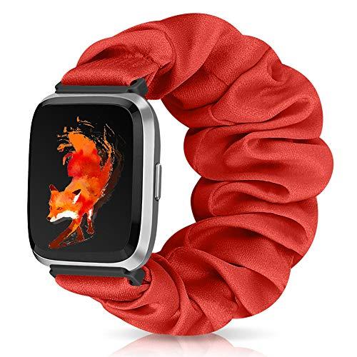 Runostrich Scrunchie Elastic Watch Band Women for Fitbit Versa/Versa 2/Versa Lite/SE, Floral Breathable Replacement Strap Scrunchy Wristband Bracelet Accessories (Q Red, M)
