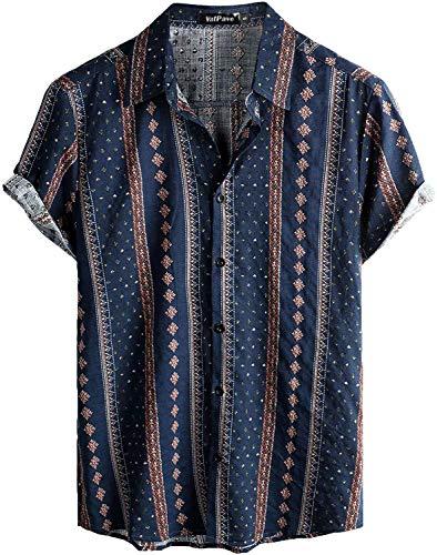 VATPAVE Mens Floral Hawaiian Shirts Short Sleeve Button Down Beach Shirts X-Large Navy