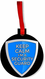 Jacks Outlet Keep Calm I'm a Security Guard Round Flat Hardboard Holiday Tree Ornament Made in The U.S.A.