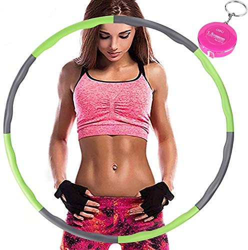 Aoweika Hula Hoop Reifen Erwachsene, Reifen mit Schaumstoff von 0,75 bis 1,0kg einstellbar, mit Mini Bandmaß für Erwachsene Anfängermit Gymnastikreifen zum Abnehmen, Fitness, Massage, Grün und Grau