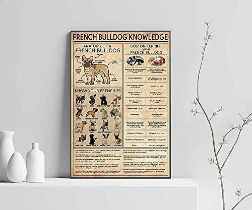 French Bulldog Knowledge Wall Art Poster No Frame, Vintage Poster, Dog Art Print, Home Decor, Dog Knowledge, French Bulldog Knowledge Poster Wall Art Print Poster, Canvas Gallery Wraps Wall Decoration