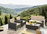 Flamaker 4 Pieces Patio Furniture Set Outdoor Furniture Set Rattan Conversation Sofa Set with Coffee Table for Garden Poolside Porch Backyard Lawn Balcony Use (Black)