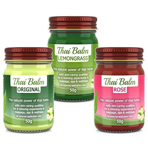 Wang Prom - Natural Herbs - Thai Kräuter Massage Balm SET: 50g Thai Herbs, 50g Zitronengras, 50g Rose