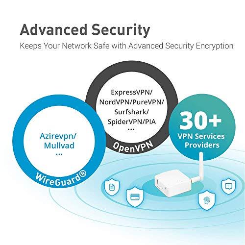 GL.iNET GL-AR150 (Weiß) Mini-VPN-Reiserouter mit externer 2dbi-Antenne, Wi-Fi-Konverter, mobiler Hotspot für unterwegs, vorinstalliertem OpenWrt, Repeater-Bridge, 150 Mbps Hochleistung, OpenVPN, programmierbarem IoT-Gateway