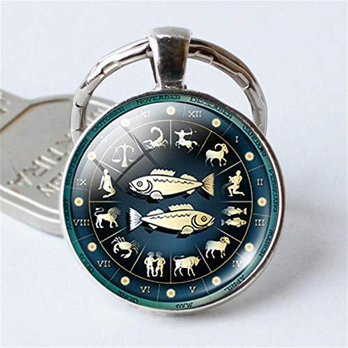 jsobh Keychains 12 Constellation Jewelry Keychain Key Rings Bag Car Round portachiavi Pendant Man Woman Cartoons (Color : Pisces Keychain)
