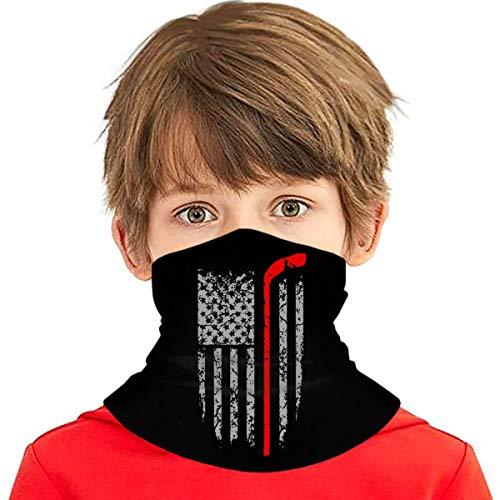 Falessan Kid'S Hockey Stick American Flag - Sports Neck Gaiter Face Mask Bandanas Balaclavs Tube Headband For Dust Sun Protection