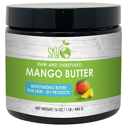 Mango Butter (16 oz) by Sky Organics Raw 100% Pure Unrefined Mango Butter for Face Body and DIY Raw Mango Body Butter Natural Mango Butter for All Skin Types Sky Organics