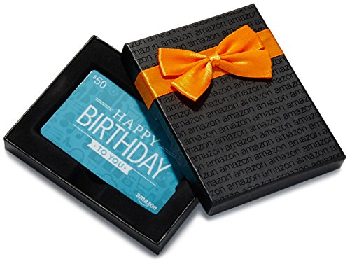 Amazon.ca $50 Gift Card in a Black Gift Box (Birthday Icons Card Design)