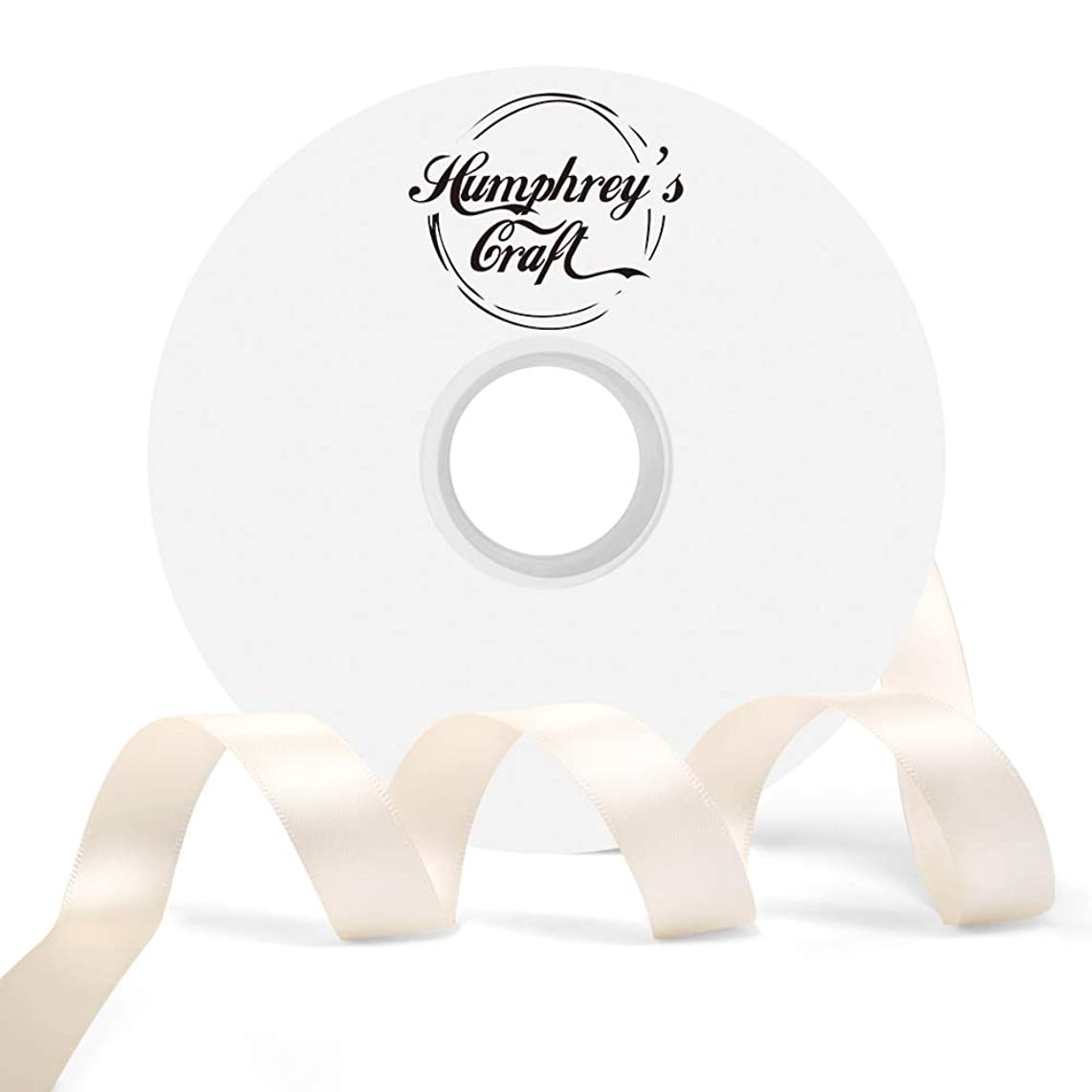 Humphrey's Craft 5/8-inch Double Face Solid Satin Ribbon 100% Polyester Ribbon Roll-50 Yard (Ivory)