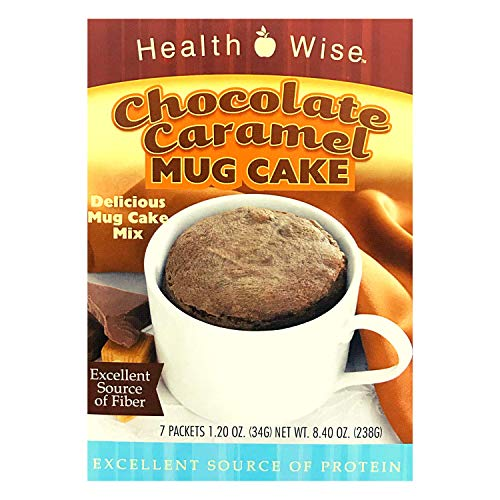 Healthwise - High Protein (15 Grams) Chocolate Caramel Mug Cake Mix - 7 Servings Per Box - Ready in under a Minute - Low Calorie - High Fiber - Low Sugar - Gluten Free (1 Pack)