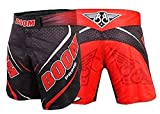 BOOM Prime Pantalones Cortos de Boxeo Kick Boxing MMA Artes Marciales Muay Thai Entrenamiento Fight Gear UFC - Rojo, M - 31'-33' Waist