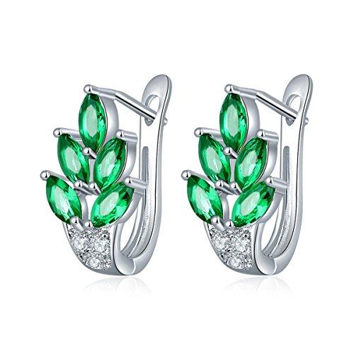 YAZILIND elegantes Zubehör Platin plattiert glänzende Blätter Zirkon hypoallergen Creolen für Frauen (grün)