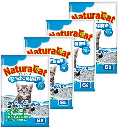 【Amazon.co.jp 限定】ナチュラキャット 固まる紙製猫砂 ブルー 猫砂 - - ケース販売