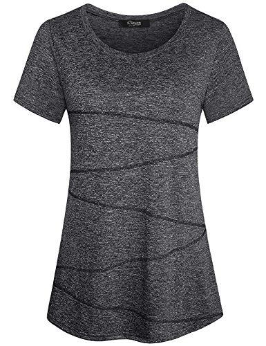 iClosam Damen Sportshirt Yoga Top Laufen Fitness Funktions Shirt, Dunkelgrau M