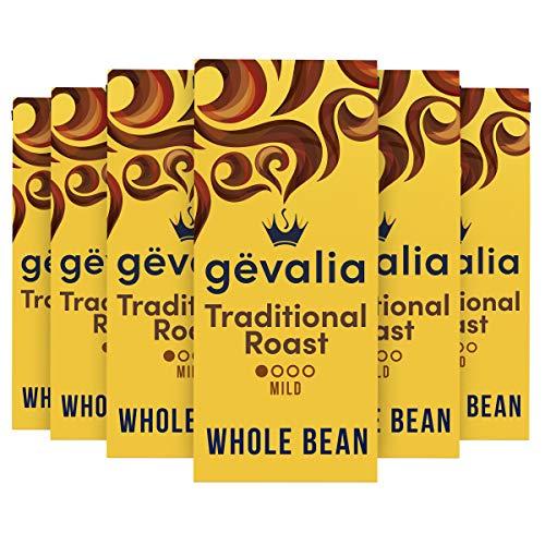 Gevalia Traditional Mild Roast Whole Bean Coffee (12 oz Bag, Pack of 6)