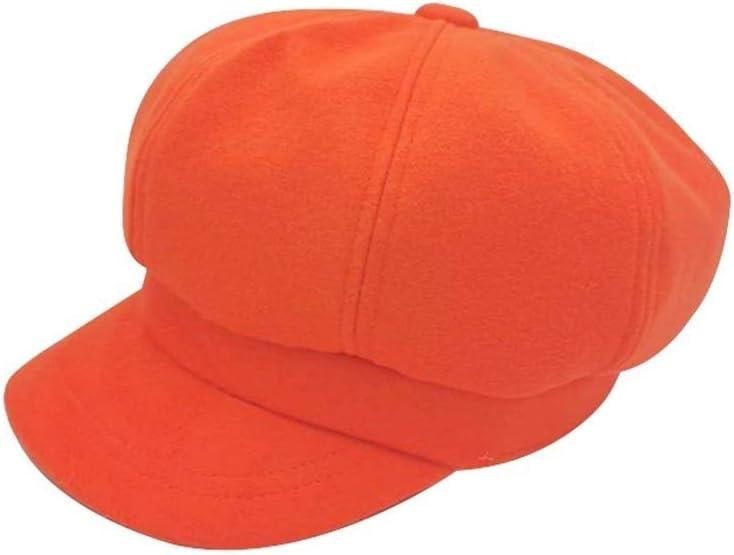 BYHSMMSD Autumn Women Hats Solid Plain Octagonal Newsboy Winter Cap Ladies Casual Warm Winter Beret Female Caps (Color : Orange, Hat Size : One Size fits All)