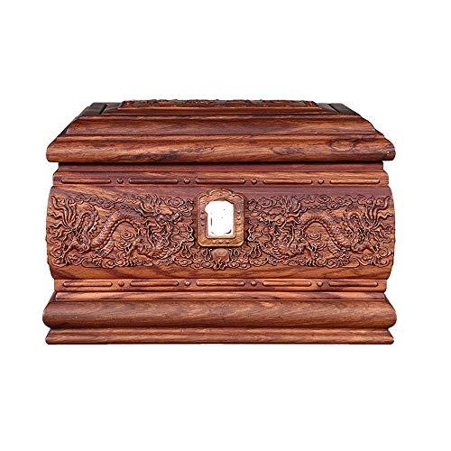 JIADUOBAO-urn Zhuang Zhongxiang Longxiang Feng Hedgehog Rosewood peut être marqueté avec une photo Boîte commémorative, étanche à l'humidité Urne for les adultes (33.5x22x22.5CM) JIADUOBAO-urn