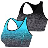 Libella Paquete de 2 Mujer Sujetador Deportivo Push Up Bustier con Amplio Correas Fitness Yoga Camisetas Sin Mangas Azul Claro Negro Gr.S/M 3738