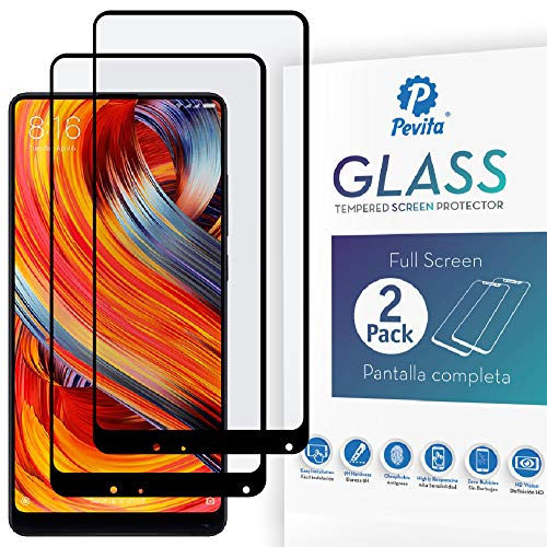 Pevita Protector de Pantalla Xiaomi Mi Mix 2. [2 Packs] Full Screen. Dureza 9H, Sin Burbujas, Fácil Instalación. Protector de Pantalla de Cristal Templado Premium para Xiaomi Mi Mix 2.