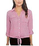 Jones New York Women's Front Tie Button Down Blouse Top (Baby Gingham Pink, S)