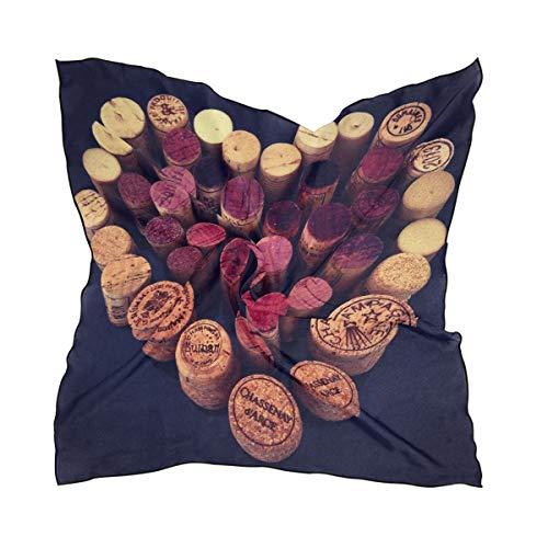 MONTOJ - Bufanda cuadrada para mujer, diseño de corchos de vino tinto