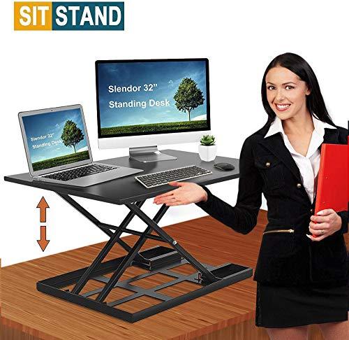 Standing Desk Stand Up Desks Height Adjustable Sit Stand Converter 32 inch Dual Monitor Workstation Ergonomic Desktop Gas Riser Stands Large Wide Rising Tabletop Computer Table Laptop Home Office