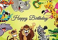 新しい7x5ft漫画動物園ハッピーバースデー写真の背景ライオン象シマウマ背景誕生日パーティーの背景少年少女ケーキテーブルバナーパーティー用品装飾フォトブース小道具