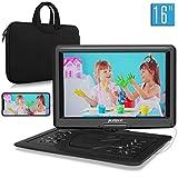 Pumpkin lettore dvd portatile grande schermo da 16 pollici per bambini, borsa dotata,supporta HDMI/ MP4, autonomia da 5 ore, USB/ TF/ AV IN/ OUT/ region free