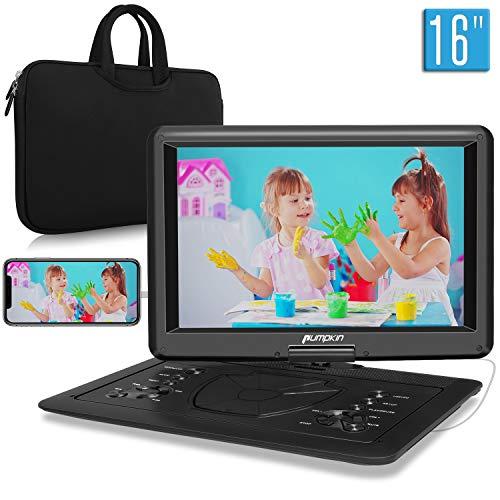 Pumpkin lettore dvd portatile grande schermo da 16 pollici per bambini, borsa dotata,supporta HDMI, autonomia da 5 ore, USB/ TF/ AV IN/ OUT/ region free