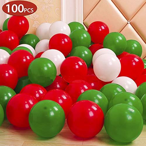 GREMAG Luftballons Geburtstag Mädchen,100PC Luftballons Rot Grün Weiß,Happy Birthday für Geburtstag , Party & Deko Luftballon für Kindergeburtstag & Party Deko